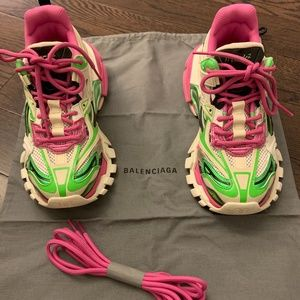 Balenciaga Track 2 Sneakers in White Green Pink